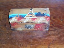 PINE RIDGE SD VINTAGE TEEPEE SIOUX INDIAN ART HAND PAINTED WOOD BOX SOUTH DAKOTA