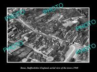 OLD POSTCARD SIZE PHOTO OF STONE STAFFORDSHIRE ENGLAND TOWN AERIAL VIEW 1940 5