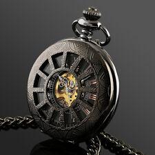 ESS Mens Pocket Watch Mechanical Black Silver Chain Skeleton Hand-winding Luxury