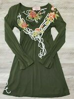 Johnny Was JWLA Womens Dress Size XS Floral Embroidered Long Sleeve Green