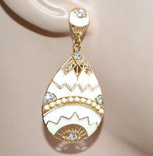 ORECCHINI pendenti donna oro dorati bianchi strass perline smaltati earrings G16