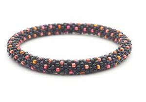 Sashka Co KIDS Size JACK O LANTERN Glass Beaded BRACELET black red orange beads