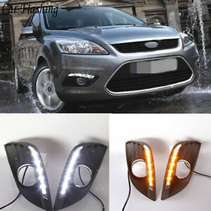 2x LED Daytime Running Lights DRL Fog Lamp w/Turn Signals For 2007-11 Ford Focus