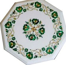 """12"""" white side Marble Table Top Inlay marquetry work handmade home decor"""
