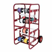AdirPro Red Steel Wire Holder Transportable Multiple Axle Cable Caddy W/ Wheels