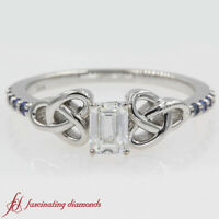 Emerald Cut Diamond And Round Sapphire Petite Celtic Engagement Ring 0.65 Carat