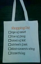 Witches Spell Shopping List Natural Eco Friendly 100% Cotton Tote Shopping Bag