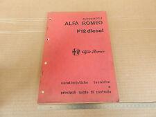 MANUALE ORIGINALE 1973 ALFA ROMEO F12 DIESEL CAMION