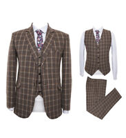 Brown Men Plaid Tweed Suit Vintage Dinner Tuxedo Party Prom Formal Suit Custom