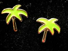 Girl's Ladies Green Enamel Tropical Palm Trees smal stud earrings NEW Gift boxed
