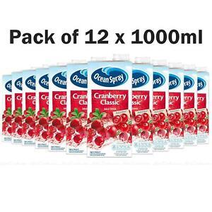 Oceanspray Cranberry Classic Sweet Juice Drink Ocean Spray - Pack of 12 x 1Litre