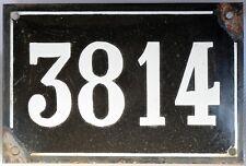 Large old black French house number 3814 door gate plate enamel metal sign