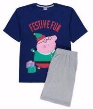 BNWT PEPPA PIG papá Pig Pijama Conjunto Navidad festiva Divertido T-shirt & shorts Navidad