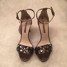 ZARA Women's High-heeled Sandal(Grey, US 7.5/EUR 38)