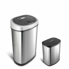 Nine Stars Motion Sensor Touchless 13.2 Gal / 2.1 Gal Trash Can Combo, Stainles