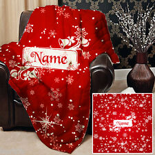 PERSONALISED RED SNOWFLAKE DESIGN SOFT FLEECE BLANKET COVER THROW OVER