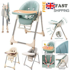 5 in 1 Baby Foldable High Chair Recline Feeding Highchair Adjustable Seat Table