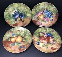 Set of 4 Repique Main Limoges Dinner Plates w/ Fruit Hand-Painted A J Heritage