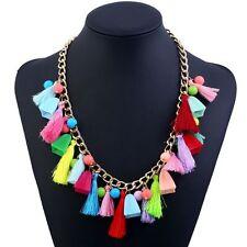 Ethnic Fashion Choker Statement Boho Pompom Necklace Jewelry Tassel Pendants