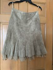 JUNE Anthropologie Genuine Leather Suede, Skirt, Size 4, Beige, Removable Ruffle