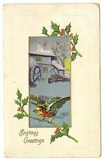 ANTIQUE CHRISTMAS POSTCARD BLUE RED YELLOW BIRD WATER WHEEL OLD MILL HOLLY 1908