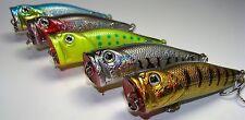 Lure Set T5E-Bass Fishing Popper-Top Water Chugger 5 New Baits-Ships Free