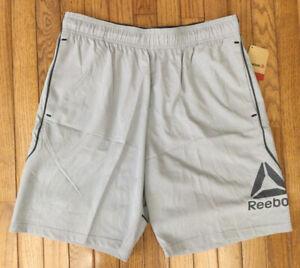 New Reebok Men's Slim Cross Tempo Training Athletic Shorts Pockets Sz L (C7-2)