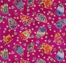 Laurel Burch Fabulous Felines Fuchsia Patchworkstoffe Stoffe Katzen Patchwork