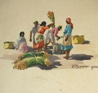 RECOLTE à MADAGASCAR 3 AQUARELLES ORIENTALISTES Original Signé A RANAIVO 1934