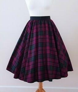 1950s Circle Skirt Purple Green Tartan Check All Sizes - Rockabilly LINDSAY