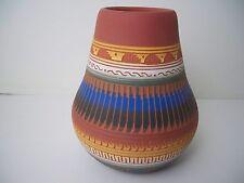 Navajo American Indian Pottery Etched Vase - Carol Torres
