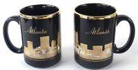 "Atlanta GA Black & Gold Set of 2 Coffee Cups Mugs with City Skyline Georgia 4.5"""