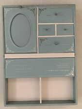 "Pottery Barn Kids Wolf Designs ""Baby� Keepsake Box Faux Leather Blue New New"