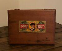 Vintage Don Rey Wooden Hinged Cigar Box