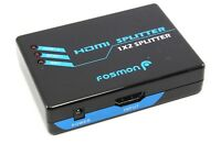 Fosmon 1x2 2 Port HDMI Splitter Full HD 3D 1080p Switcher Adapter NO Power Suply