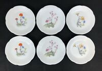 Philippe Deshoulieres Limoges France 6 Mix Flower Patterns Canape Snack Plates