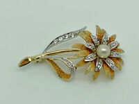 Gorgeous Vintage Gold on Sterling Silver Pearl & CZ Flower Statement Brooch