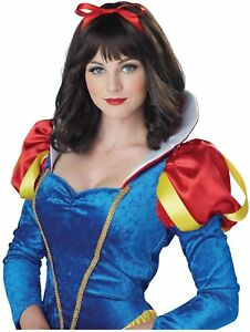 Snow White Wig Princess Storybook Fancy Dress Halloween Adult Costume Accessory