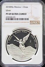 Mexico 1 oz. Silver Libertad 2018 Proof. NGC PF69 Ultra Cameo. KM# 613 (070)
