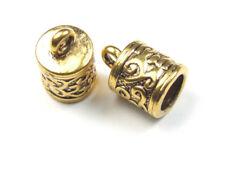 10er Pack Endkappen für 6 mm Band, Schmuckverschluss Lederband, goldfarben