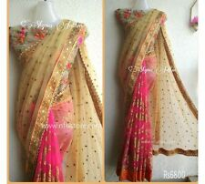 Bollywood Designer Party Wear Beige & Pink Color Heavy Net Fabric Bridal Saree