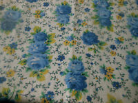 Antique Vintage Cottage Roses Cotton Fabric ~ Yellow Blue Green