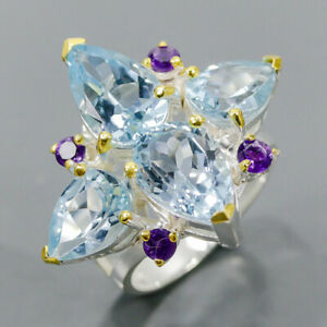 Handmade SET Blue Topaz Ring Silver 925 Sterling  Size 7.75 /R173937