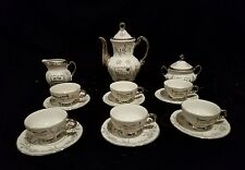VTG Sterling China Silver & White Porcelain 25th Anniversary Demitasse Tea Set