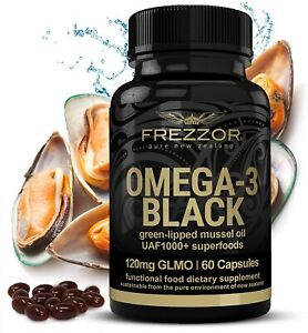FREZZOR OMEGA-3 BLACK, New Zealand Green Lipped Mussel Oil Concentrate, 60 Caps