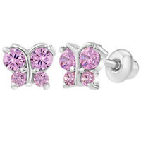 Rhodium Plated Tiny Pink CZ Butterfly Screw Back Earrings Toddlers Kids Babies