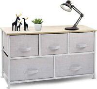 Cerbior 5 Drawers Dresser Bedroom Chest Fabric Organizer Wide Bin Storage Tower