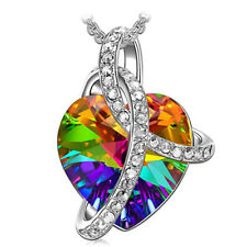 Aurora Borealis Swarovski Cube Crystal Necklace with Silver Plated Chain New