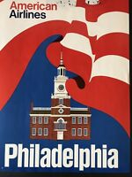 Vintage 1960's Original American Airlines Philadelphia Travel Advertising Poster