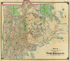 1900 Bronx New York City Wall Map Beautiful Vintage Art Poster Print Decor